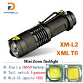 Zoom mini cree xml T6 l2 Led Flashlight Led Torch 5 mode 3800 Lumens waterproof 18650 Rechargeable battery Tactical flash light