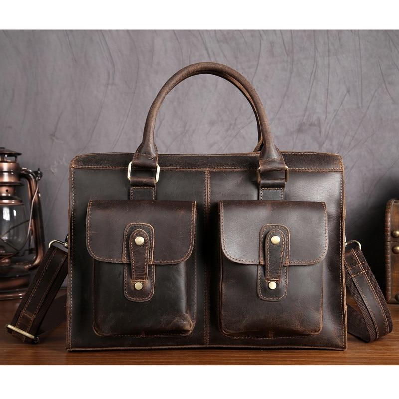 Genuine Leather Brand Men Handbag Business Briefcases Bag Cow Leather Messenger Shoulder High Capacity Handbags SDM3542