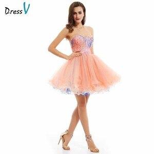 Image 1 - Dressv pembe zarif homecoming elbise ucuz bir çizgi straplez sequins baskı diz boyu mezuniyet ve mezuniyet elbiseleri