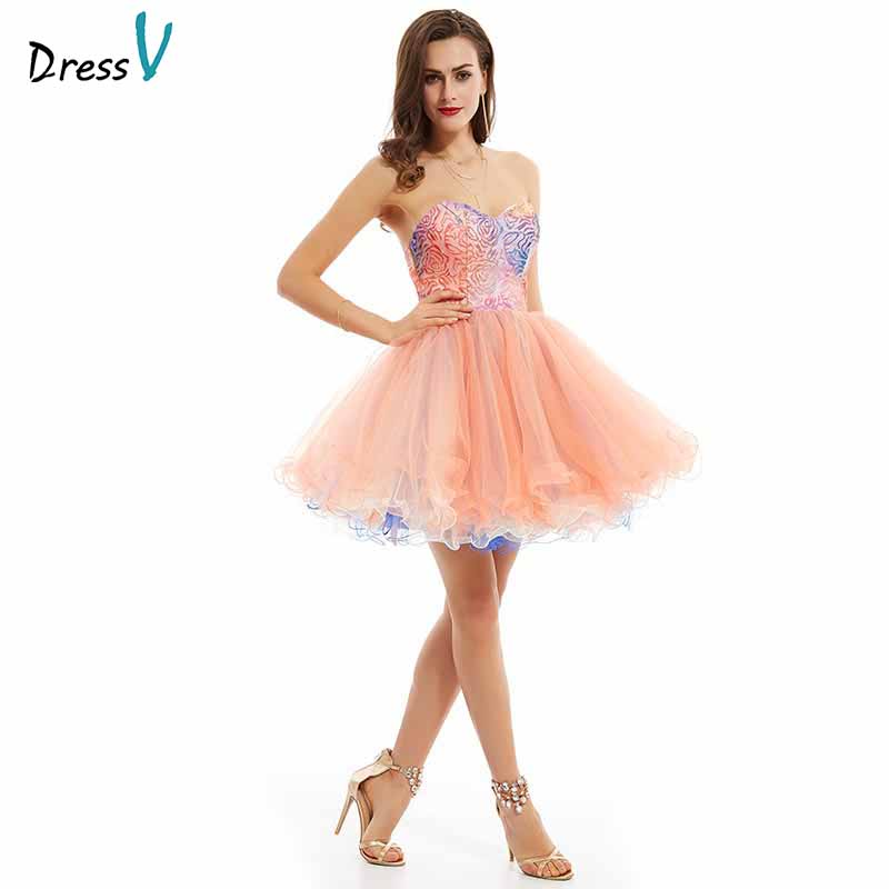 Dressv Pink Elegant Homecoming Dress Cheap A Line Strapless Sequins Printing Knee Length Homecoming&graduation Dresses