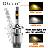 Double Colored Car Headlights H4h7h7h19005h119006h3h8 Fog Lamp Near Light And Far Light Modification