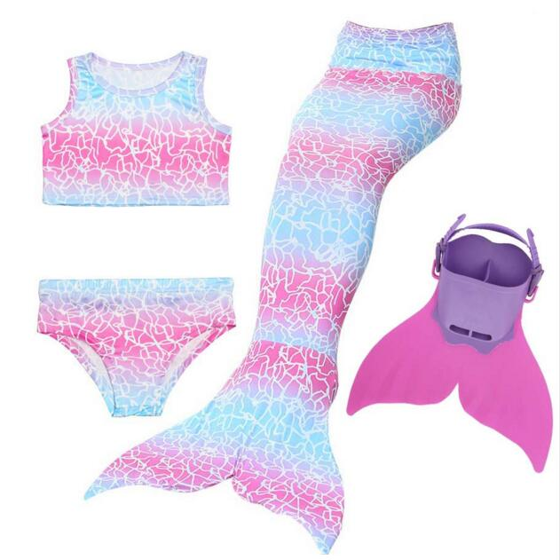 Girls 5 Colors Swimmable Mermaid Tail With Monofin Mermaid Swimsuit Bikini Fin Kids Swimming Children Mermaid Tails Costume