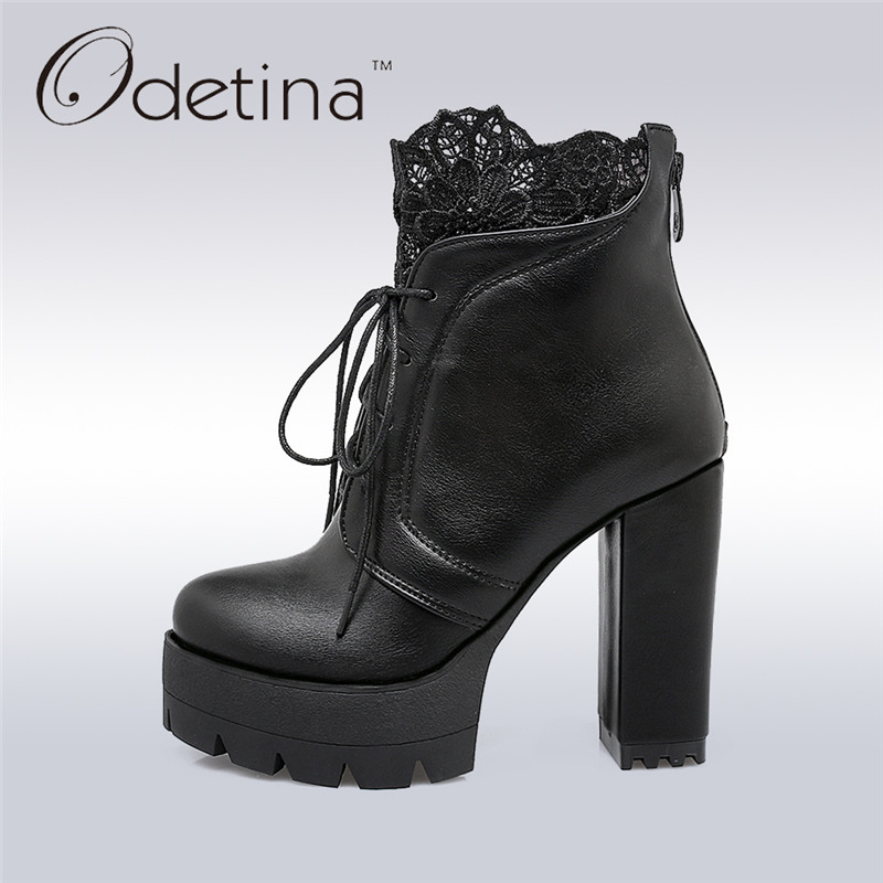 Odetina 2017 New Spring Autumn Women Thick Heel Ankle Boots Platform Ladies Lace Up Square High Heels Boots Sexy Big Size 33-43 new spring autumn women boots black high heels thick heel boots lace up platform ankle boots large size 34 43