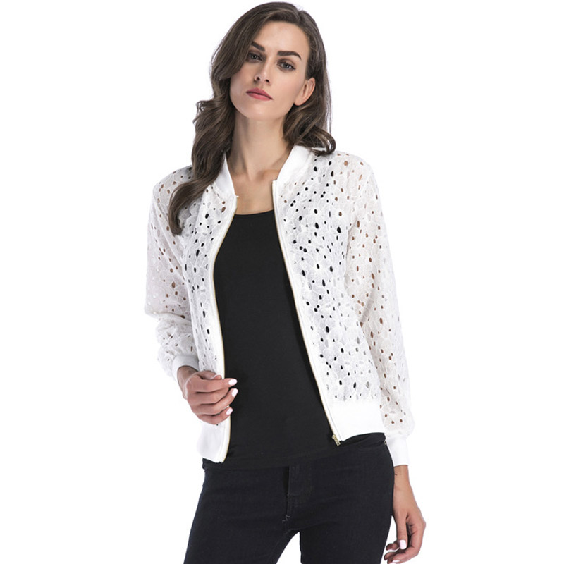 LZMZA Women   Basic     Jackets   2019 Spring Summer   Jacket   Women Fashion Hollow Out Lace Long Sleeve Women   Jacket   Female