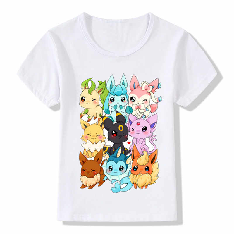 6fdf00c2 ... Boys and Girls Pop Eeveelutions Pokemon Go Cartoon Design T shirt Kids  Casual Clothes Baby Summer ...