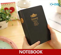 21.3cmX14.2cm Black Leather Cover Blank Notebook , Vintage Dream Business Diary Book for Daily Memo