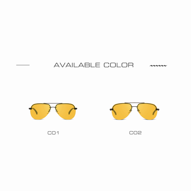 AOFLY New Arrival Yellow Polarized Rimless Sunglasses Men Women Night Vision Goggles Driving Glasses Metal Legs Eyewear AF8053 4