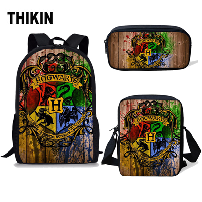 THIKIN Hot H Arry-Potter Kids School Bags For Boys Girls 3 Pcs Set Backpack Children Mochila Infantil Bolsa Escolar Computer Bag