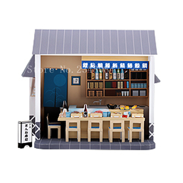 US $14 35  Japanese 3D Paper Model Buildings Sushi Bar Paper Craft Cube DIY  Manual Puzzle Handmade Papercraft Toys for Children-in Model Building Kits
