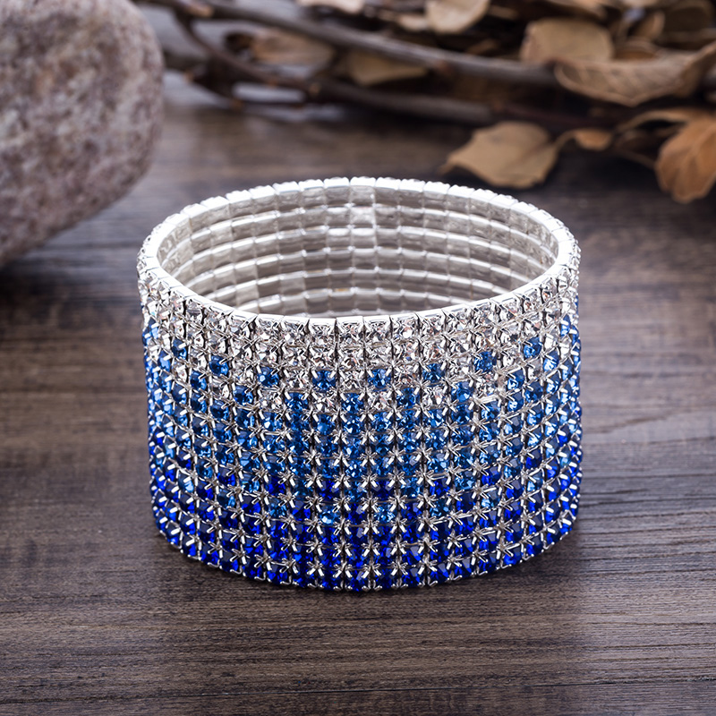 12 Rows Crystal Rhinestone Bangles Bracelet for Women Silver Plated Blue and Clear Crystal Combination Wedding Bracelet (2)