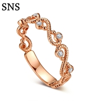 0.05ctw Solid 14K Rose Gold Antique Art Deco Special Milgrain Genuine Natural Diamonds Engagement Wedding Trendy Jewelry Ring