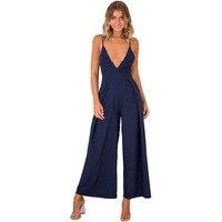 Wide Leg Jumpsuit Summer Women Elegant Ladies Boho Overalls V Neck Backless Bowknot Mono Mujer Largo Elegante 2019