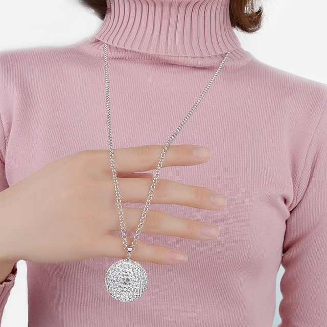 d2f26e06a2 Full Crystals From Swarovski Shiny Super Big Shambhala 30mm Ball Necklace  Pendant Long Sweater Chain Necklace For Women Jewelry