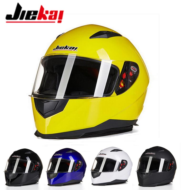 2016 Winter JIEKAI Full face motorcycle helmet Motorbike helmets knight safety caps made of ABS 7 kinds of color size M L XL XXL
