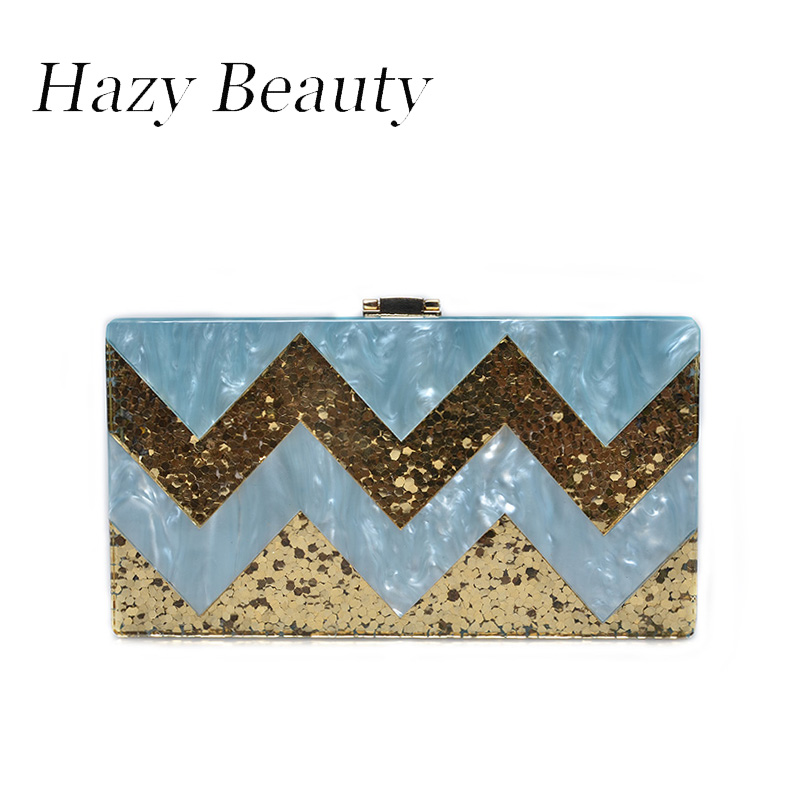 Hazy beauty fashion sequined design women evening bag chic lady cross body shoulder bag free acrylic strap together sold A362
