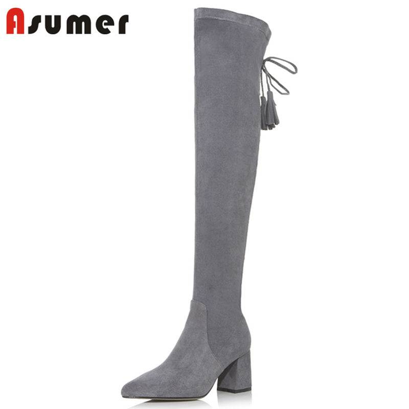 ASUMER NEW arrival 2018 fashion narrow band slip on over the knee boots for women pointed toe flock boots autumn female bootsASUMER NEW arrival 2018 fashion narrow band slip on over the knee boots for women pointed toe flock boots autumn female boots