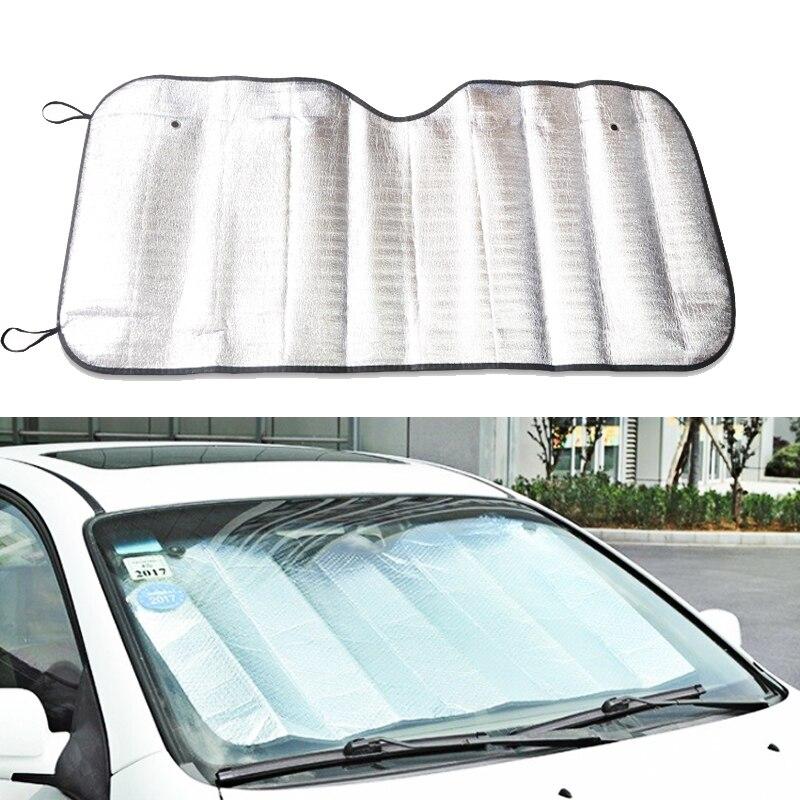 1Pc Car Rear Window Windshield Sunshade Front UV Protect Reflector Sun Shade For Car Window Covers Sun Visor Silver 130 *60Cm