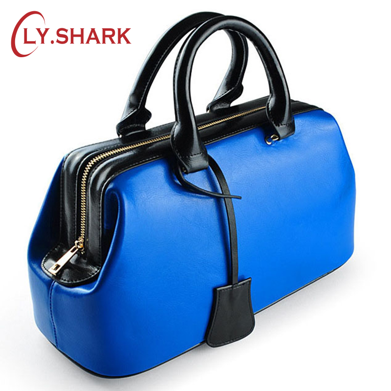 LY.SHARK Genuine Leather Bag Female Purses And Handbags Women Bag Famous Brand Blue Tote Bag Doctor Bag Fashion Designer Luxury