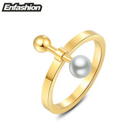Fashion Movable Flat Bar With Ball And Pearl Rings Finger Midi Ring 18K Rose Gold Rings