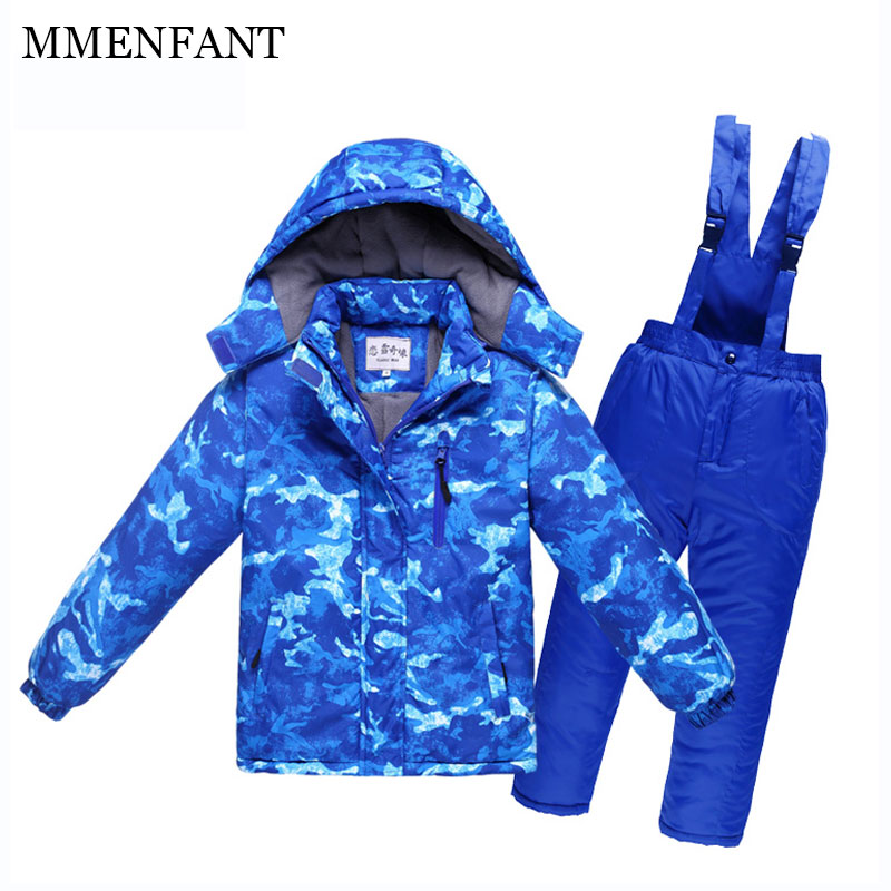 Fashion Blue camouflage jackets Children ski suit winter sets Boys and girls waterproof ski clothes outdoor coats+pants for kids