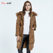 SheonDHF Winter Jacket Women Fur Down Parka Coat Long Hooded Slim Parkas 2017 Fashion Printed Ladies Coats Jackets abrigos mujer