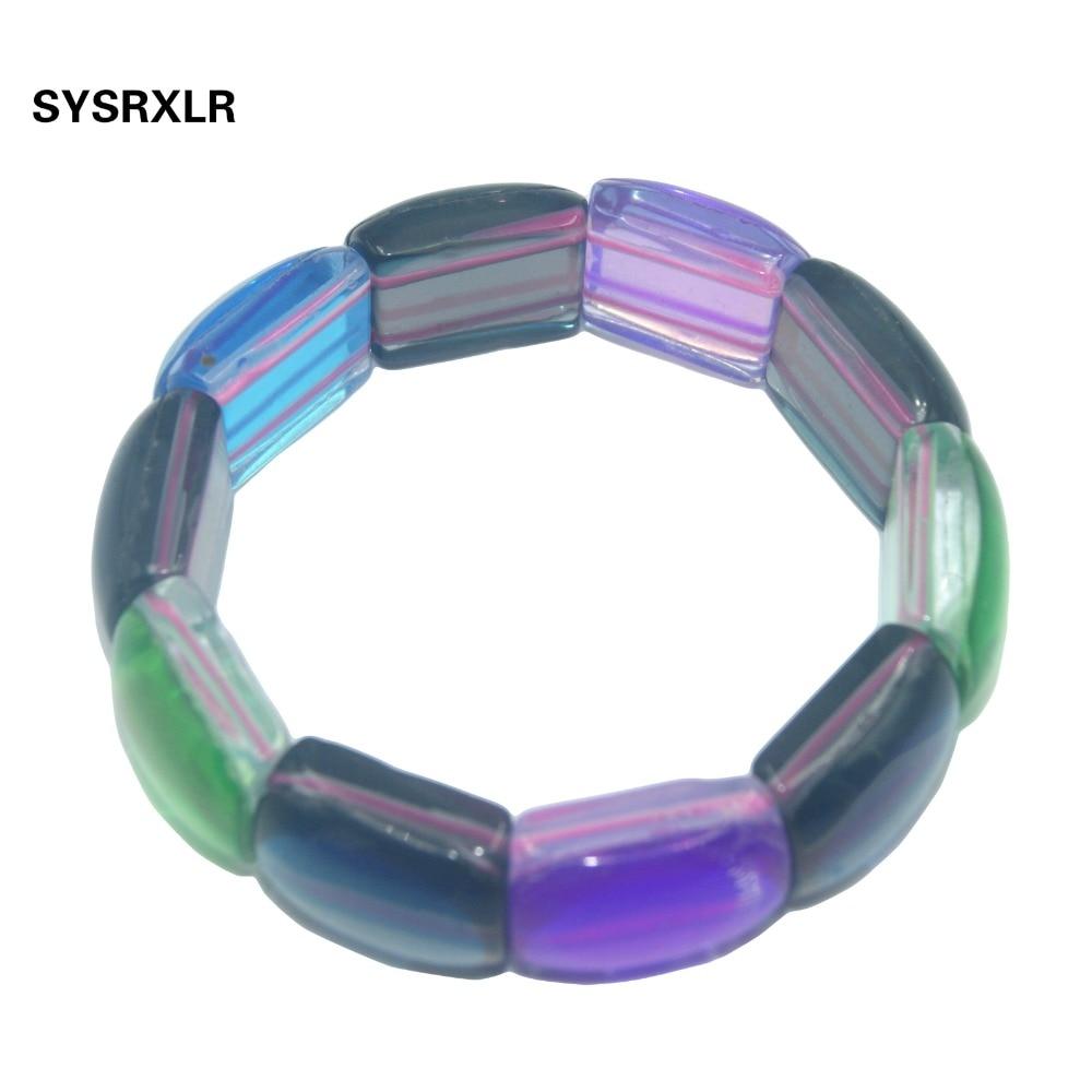 5c6b1728c300 Pulsera de piedra de luna de síntesis de cristal de Austria Pulseras de  Yoga elásticas de piedra Natural para hombres mujeres jerseys joyería de  moda