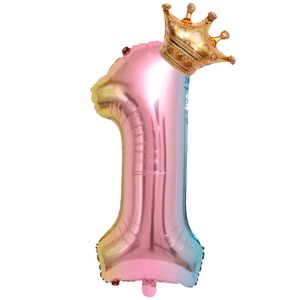 Image 3 - Large 32inch Helium Air Digit Figure Big Crown Number Foil Balloon Birthday Party Decorations Kids