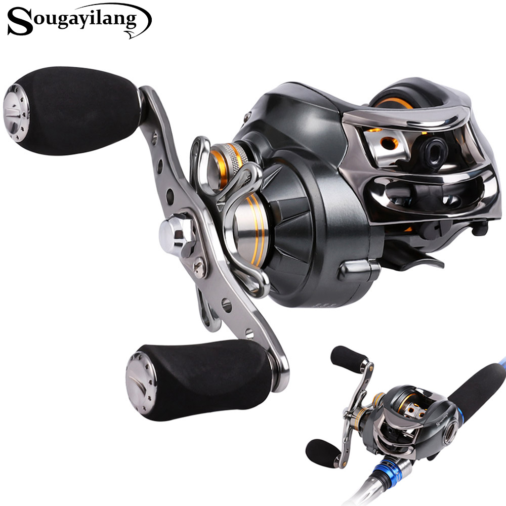 Sougayilang Baitcasting Fishing Reel 7.0:1High Speed Casting Reel Fishing Wheel Left/Right Hand Water Drop Wheel Fiber Drag Coil 18bb 1 ball water drop wheel bearings double brake baitcasting reel fishing gear right left hand bait casting fishing wheel