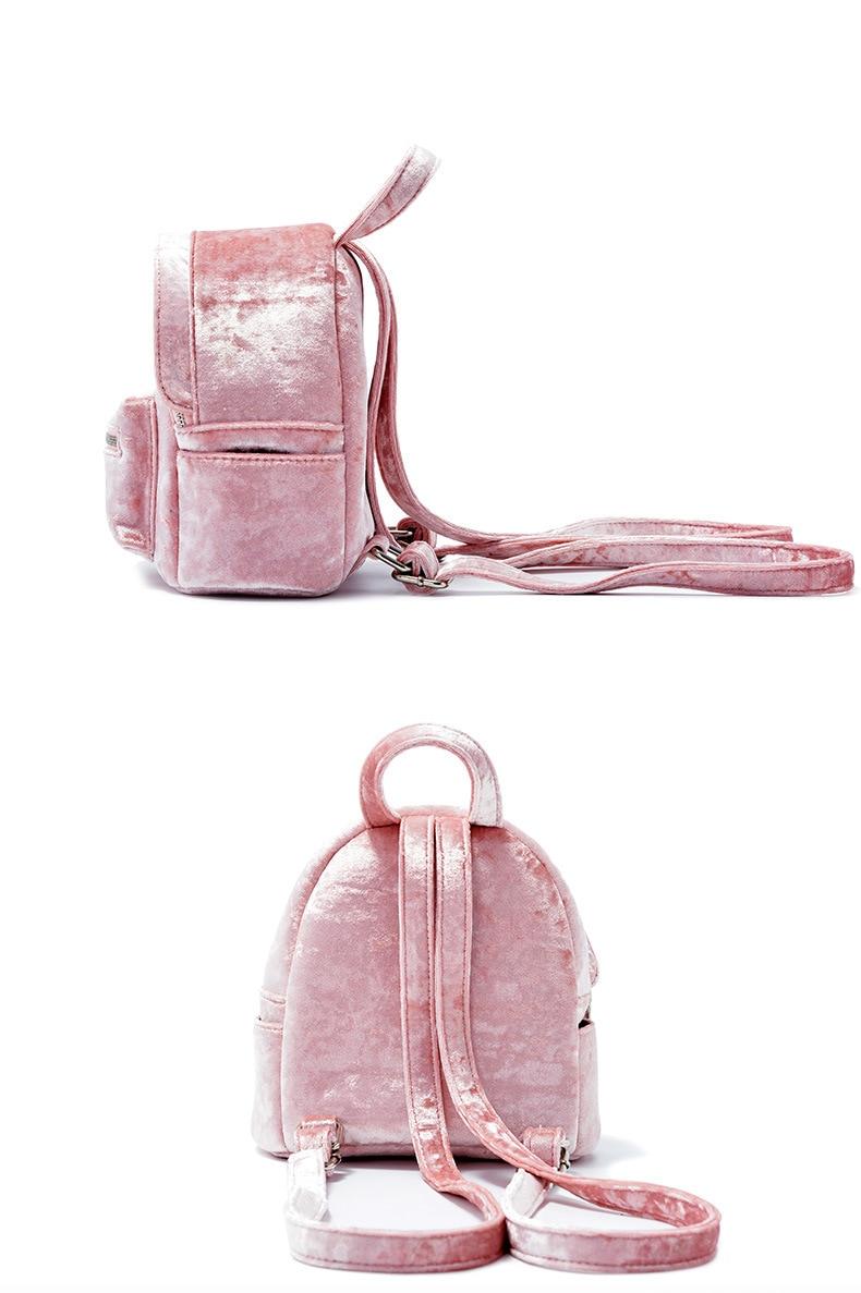 Rosa de veludo pequeno bookbag meninas kawaii