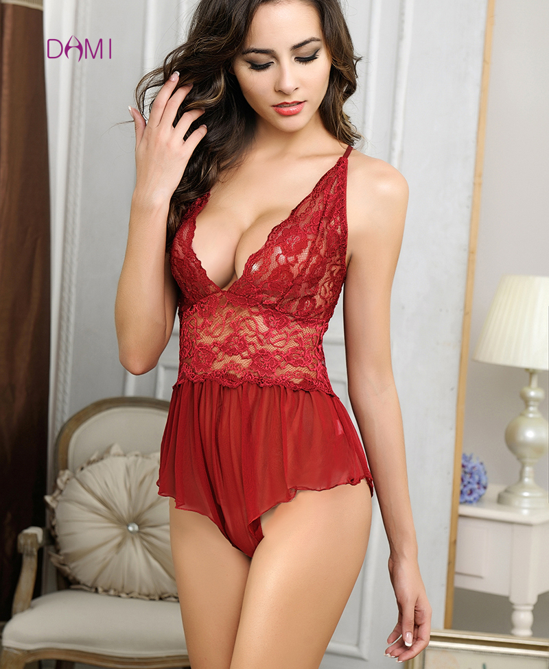 New Wedding Gift Sexy Lingerie Hot Women Lace Deep V Neck Teddy Underwear Erotic Lingerie