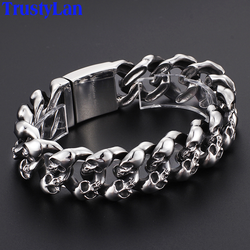 TrustyLan Punk Rock Mens Skull Bracelets & Bangles 2018 Hiphop Never Fade Stainless Steel 19MM Ghost Chain Bracelet Men Jewelry