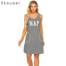 Ekouaer Women Striped Nightdress Summer Nightgown O Neck Sleeveless Letters Printed Stripes Loose Night Dress Female Sleepwear