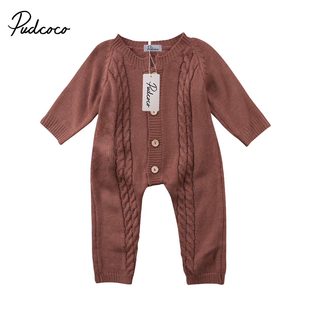 Newborn Kids Infant Baby Boy Girl Romper Jumpsuit Long Sleeve Rompers Warm Clothes Outfits Rompers Brown Green White 0-18M 3pcs set newborn infant baby boy girl clothes 2017 summer short sleeve leopard floral romper bodysuit headband shoes outfits