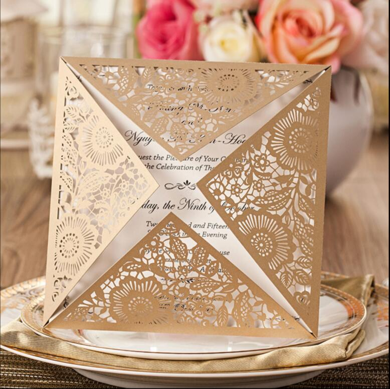 Gold elegant laser cut wedding invitation cards personalized ...