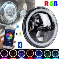 1 PCS RGB DRL Harley LED Halo Headlights 7inch with Bluetooth Mobile APP Remote for Harley Davidson Touring Street Glide
