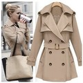 Fashion European Style Trench Coat for Women Autumn Coat Poncho Lace Inside Slim Outerwear Khaki Casaco