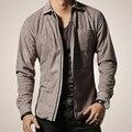 Los hombres del Ante de la Camisa de Manga Larga Camisas de Los Hombres Formales Camisas ropa de la motocicleta Más El Tamaño XXL 2016 Nuevo Diseño de Moda
