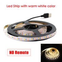 5V USB 5M led Strip none light Lamp SMD 2835 Not Waterproof Warm White Cable ledstrip lamp Decor for TV Backlight Christmas