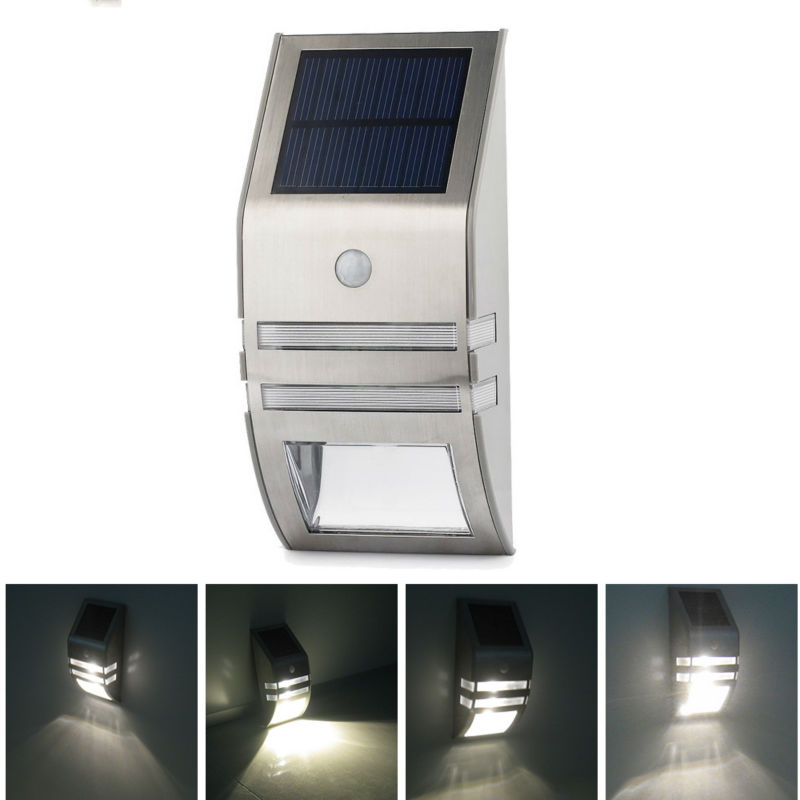 2 leds outdoor solar motion sensor pir security wall light path post lamp easy install and - Solar Lamp Post