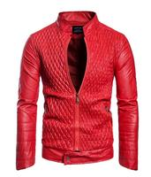 2018 New Men's Black Red PU Leather Slim Jacket Coats Men Casual Zipper Motorcycle Leather Jacket For Autumn Winter S 3XL