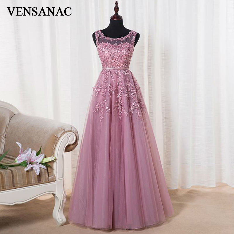 VENSANAC 2017 New A Line Lace Appliques O Neck Long   Evening     Dresses   Sleeveless Elegant Beadings Sash Tank Party Prom Gowns