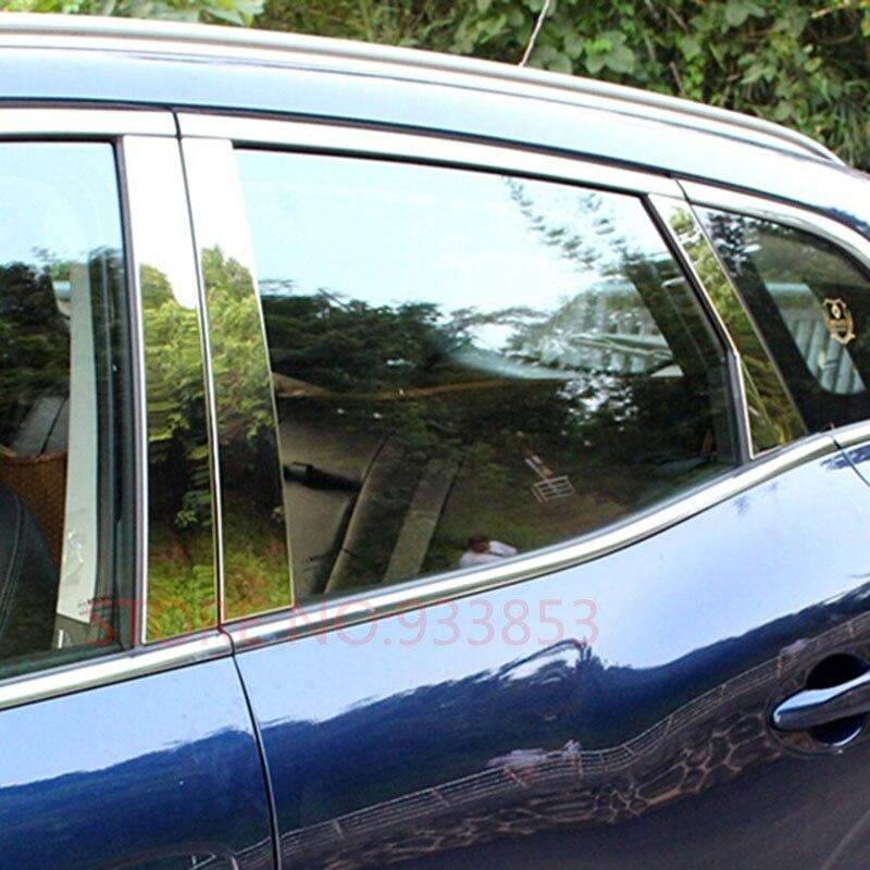 6pcs Car Stainless Steel Car Window Trim Sticker for RENAULT KADJAR 2016 2017 2018