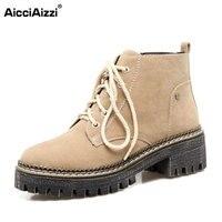 AicciAizzi 5 Colors Size 34 43 Women Ankle Boots Cross Strap High Heel Boots Women Warm