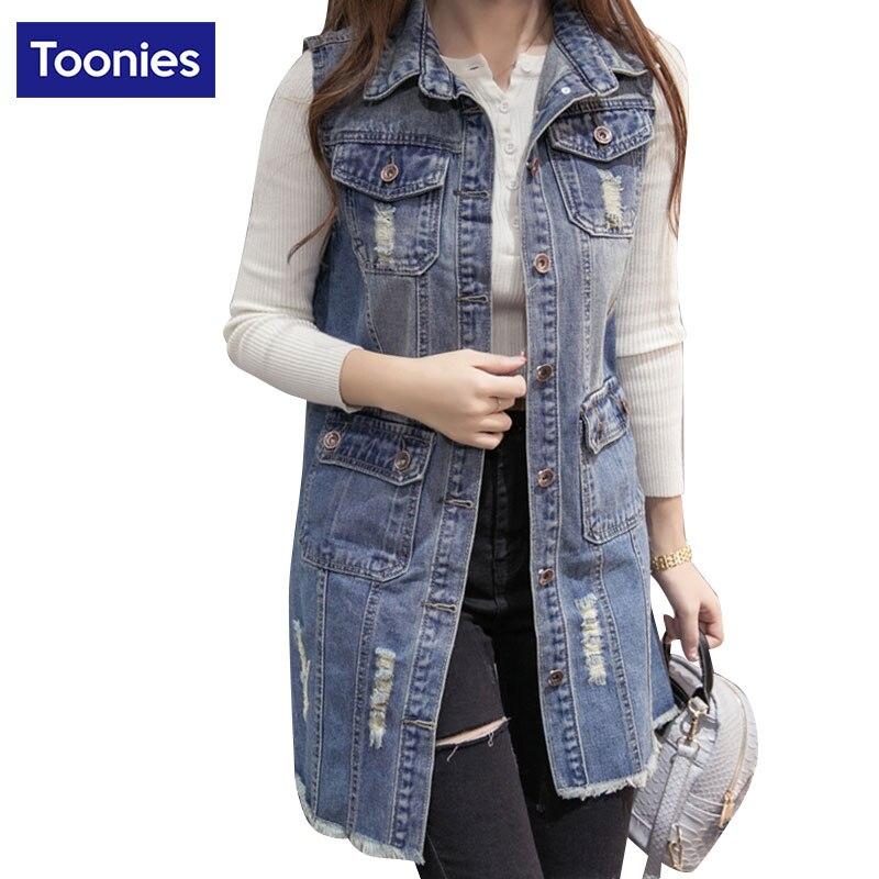 Spring Korean Hole Denim Vest Jacket Coat Women Long Solid Fashion Outwear Jeans Coats Sleeveless Blue Slim Fit Tops 2018 S-2XL