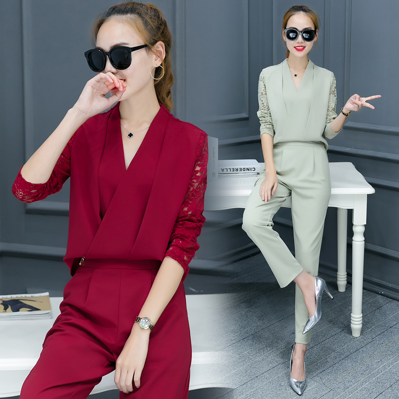 Fashionable Women V Neck Shirt Pants Suit New 2016 Autumn Korean - Women's Clothing - Photo 5