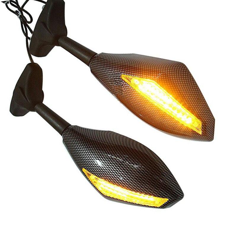 2 PCS Moto Rétroviseur LED Clignotants Miroirs pour Kawasaki ZX6R ZX9R ZX10R Ninja 250R