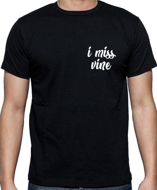 I Miss Vine inspired Black t-shirt mens fit video sharing social media funny Design T Shirt MenS High Quality