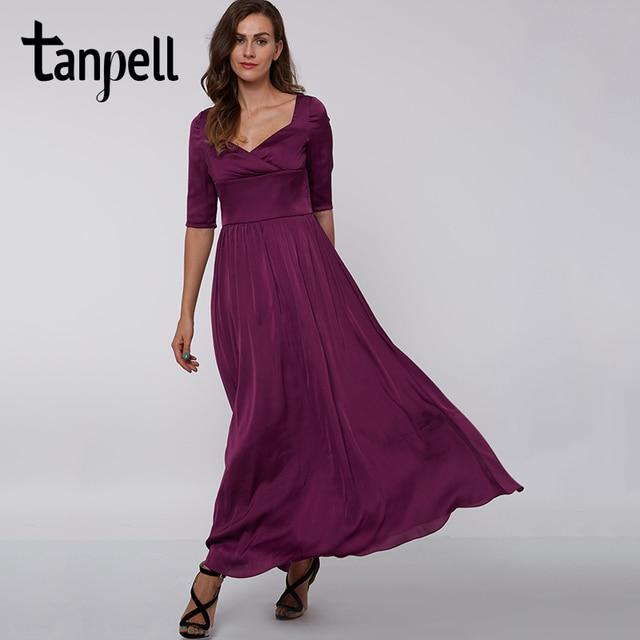 Tanpell lila quadrat kragen langes abendkleid elegante schwarz ...