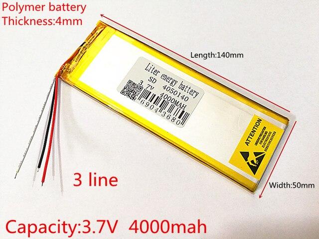 3 קו 3.7 V, 4000 mAH (פולימר ליתיום יון סוללה) נטענת עבור מחשב לוח 7 אינץ 8 אינץ 9 אינץ 4050140 משלוח חינם