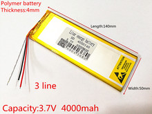 3 line 3.7V,4000mAH (polymer lithium ion battery) Li ion battery for tablet pc 7 inch 8 inch 9inch 4050140 Free Shipping